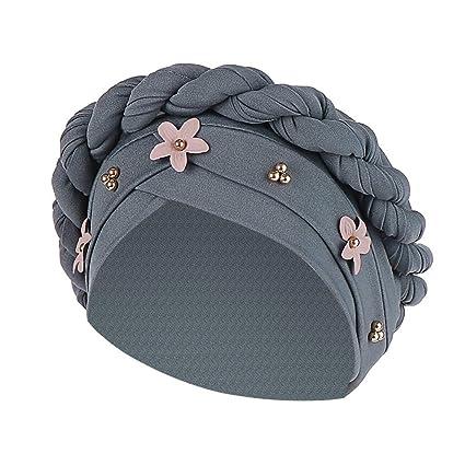 Longra💞 Mujer Floral Trenza India Sombrero musulmán con ...
