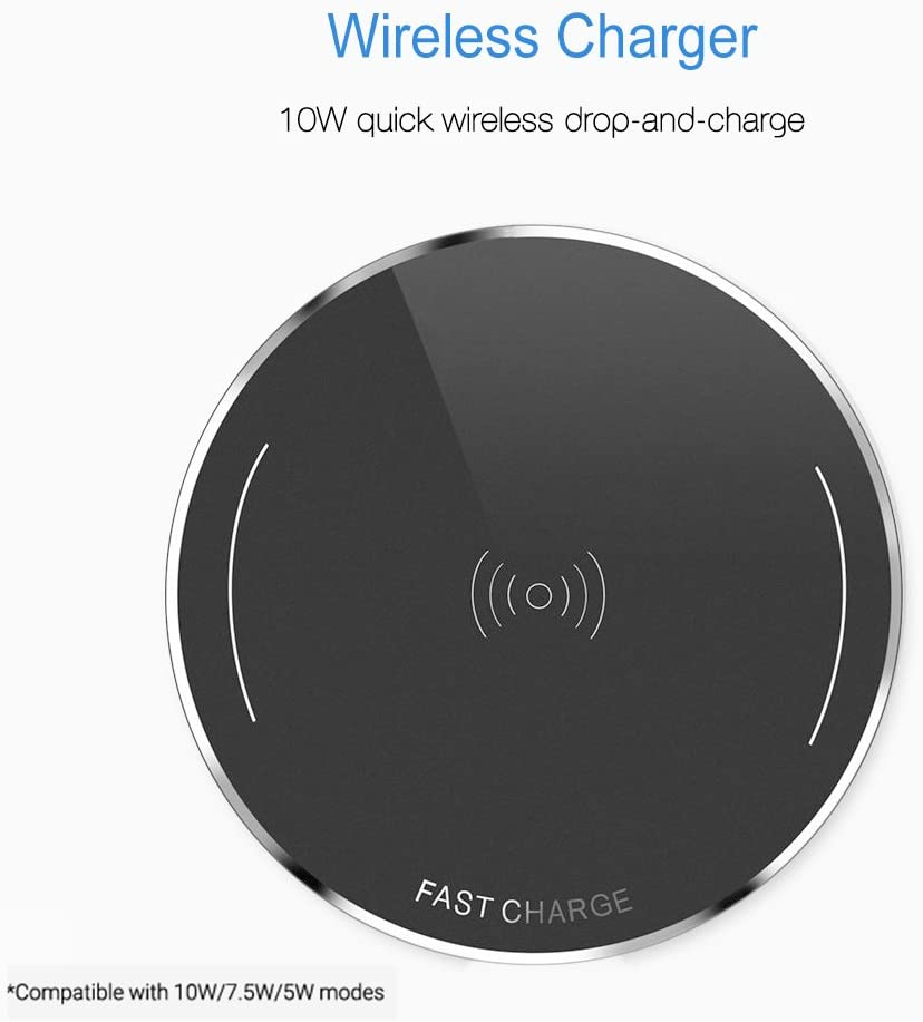 Wireless Charger Pad for iPhone11 Pro Max X XS MAX XR 8 Plus,10W Fast Cordless Mobile Phone Charger,QI Wireless Charging for Galaxy S9//S9+//S8//S8+//S7 All QI-Enabled Pad
