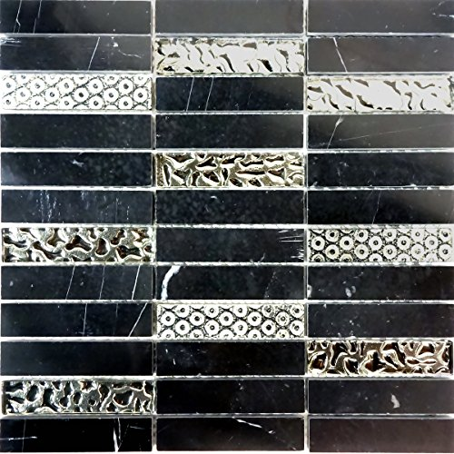 Modket TDH192MO Black Marquina Marble Blended Metallic Silver Glass Mosaic Tile - Tiles Inch Glass 4