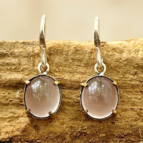 Oval Cabochon Accent - Oval cabochon Rose quartz earrings in silver bezel setting with polished brass accent prongs