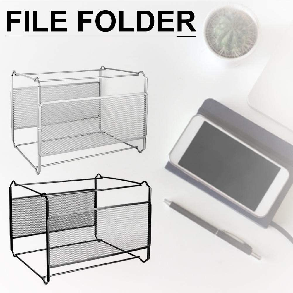 Hanging File Frame For A4 Suspension Files, Silver 40 Folders 15.4 L x 13.2 W x 10.2 H Hanging File System for Home and Office Black Mesh Suspension File Organiser
