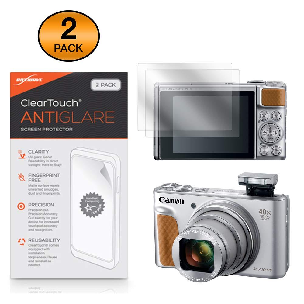 BoxWave Canon Powershot SX740 HS スクリーンプロテクター [ClearTouch Anti-Glare (2枚パック)] 指紋防止 マットフィルムスキン Canon Powershot SX740 HS SX70HS用   B07L44QFLZ
