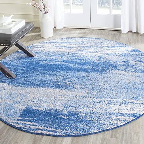 Safavieh Adirondack Collection ADR112F Modern Abstract Area Rug, 10' Round, Silver/Blue