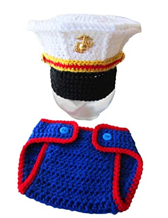 Osye Baby Crochet Knitted Outfit Marine Corps Hat Costume Set Photography  Photo Props (Blue)