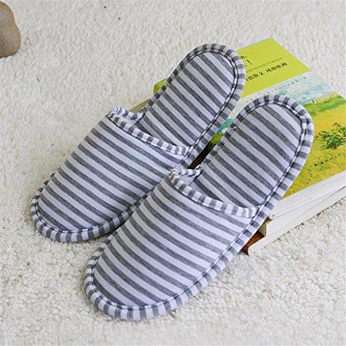 2 paires de chaussures de voyage antidérapantes pour les voyages pliant des pantoufles non-jetables pour laviation de plein air , cyan blue stripes