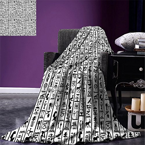 Alphabet Border Design - smallbeefly Egyptian Weave Pattern Extra Long Blanket Vertical Borders with Hieroglyphics Alphabet Ancient Language Symbols Cultural Custom Design Cozy Flannel Blanket Black White