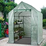 Cheap Topeakmart Mini Walk in Greenhouse Plant Anchors with Shelves,56.3 x 55.5 x 76.8'' (LxWxH)