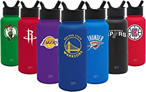 Simple Modern 32oz Summit Water Bottle with Straw Lid - Vacuum Insulated Water Flask Travel Coffee Tumbler 18/8 Stainless Steel: NBA Golden State Warriors