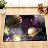 LB Solar System Bath Mat Fantasy Space Asteroid Jupiter Galaxy Bathroom Mat Rugs Indoor Non Slip Soft Flannel 16X24 inch