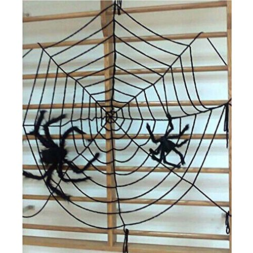 Giant Spider Web Black Halloween Cobwebs for Halloween Decoration Party Favor Scary Plush Spider Props 11.8 Feet