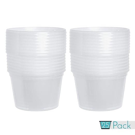 Paquete de 25 recipientes de plástico para alimentos con tapas, 16 ...