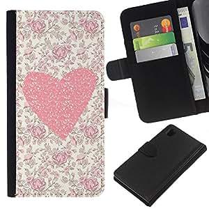 KLONGSHOP // Tirón de la caja Cartera de cuero con ranuras para tarjetas - Flores florales del amor de la muchacha de Primavera - Sony Xperia Z1 L39 //