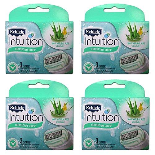 - Schick Intuition Naturals Sensitive Care Razor Blade Refill Cartridges, 12 Count