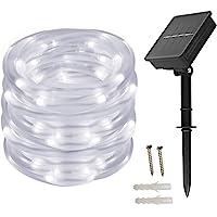 Tragbar Solar Lichtschlauch Lichterkette, 12m 100 LEDs, Wasserdicht IP65,Außenlichterkette, LED Lichterketten Für Hochzeit, Party und Weihnachten, Weihnachtsbeleuchtung, Kaltesweiß