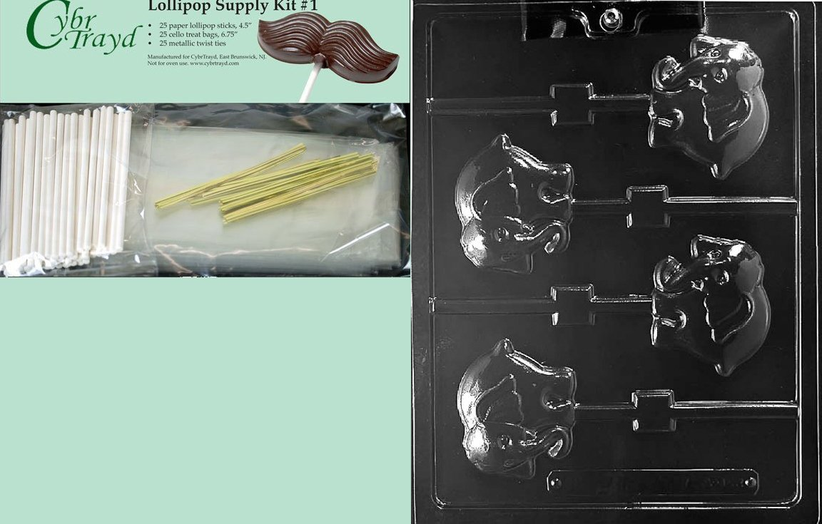 Cybrtrayd 45StK25G-A142 Elephant Lolly Animal Chocolate Candy Mold with Lollipop Supply Kit
