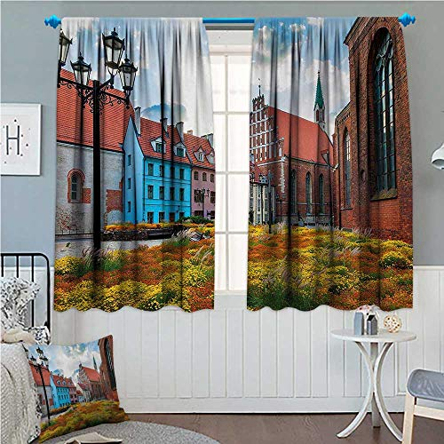 (zojihouse Victorian Blackout Window Curtain Old City Riga Latvia Capital with Historical Buildings Medieval Town Image Print Multicolor 72