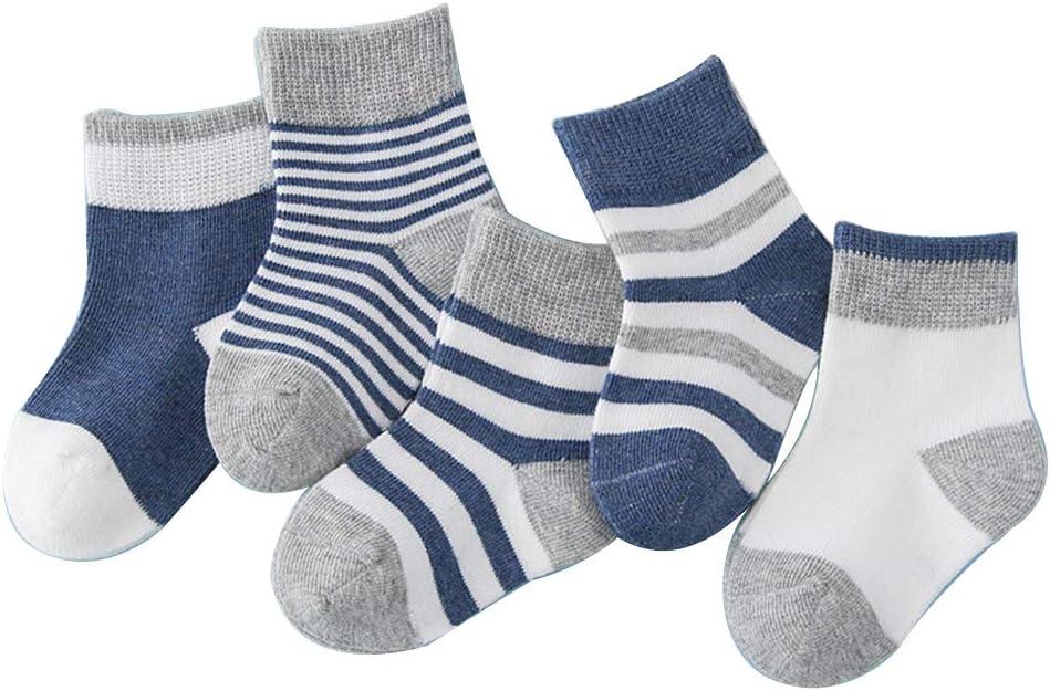 dontdo 5 Pairs Toddler Baby Boy Girl Soft Warm Cotton Anti-Slip Striped Socks Pink S