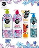 Good Virtues Co. Hair, Bath & Body Care 4 PCS Set - Clarifying Shampoo and Conditioner For Oily Hair with Organic Black Seed Oil (23.7 oz & 10.1 oz), Shower Cream (23.7 oz), Body Lotion (5.07 oz)