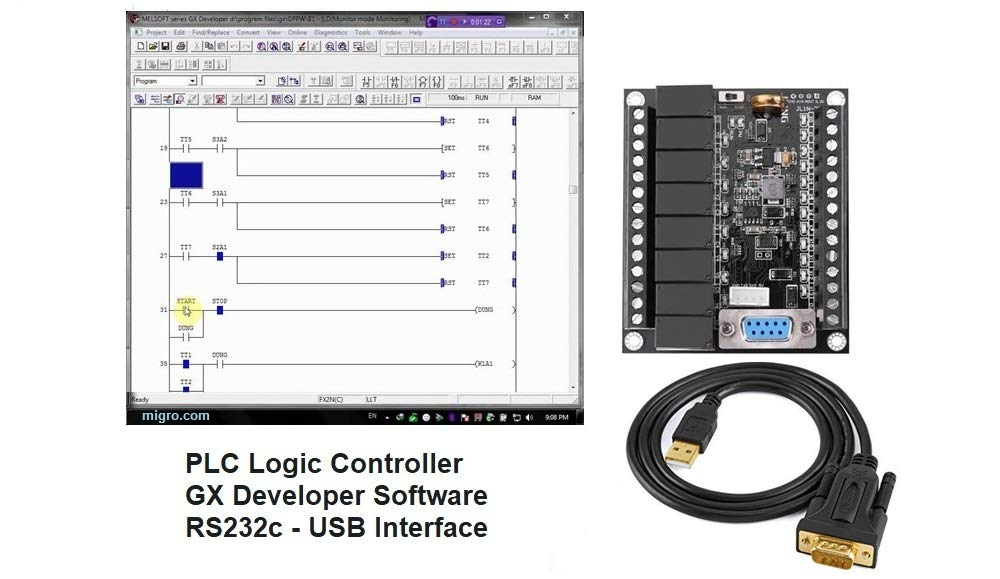 PLC Controller and Programming Software, USB Interface, Ladder Logic Automation w Training Bonus by Migro