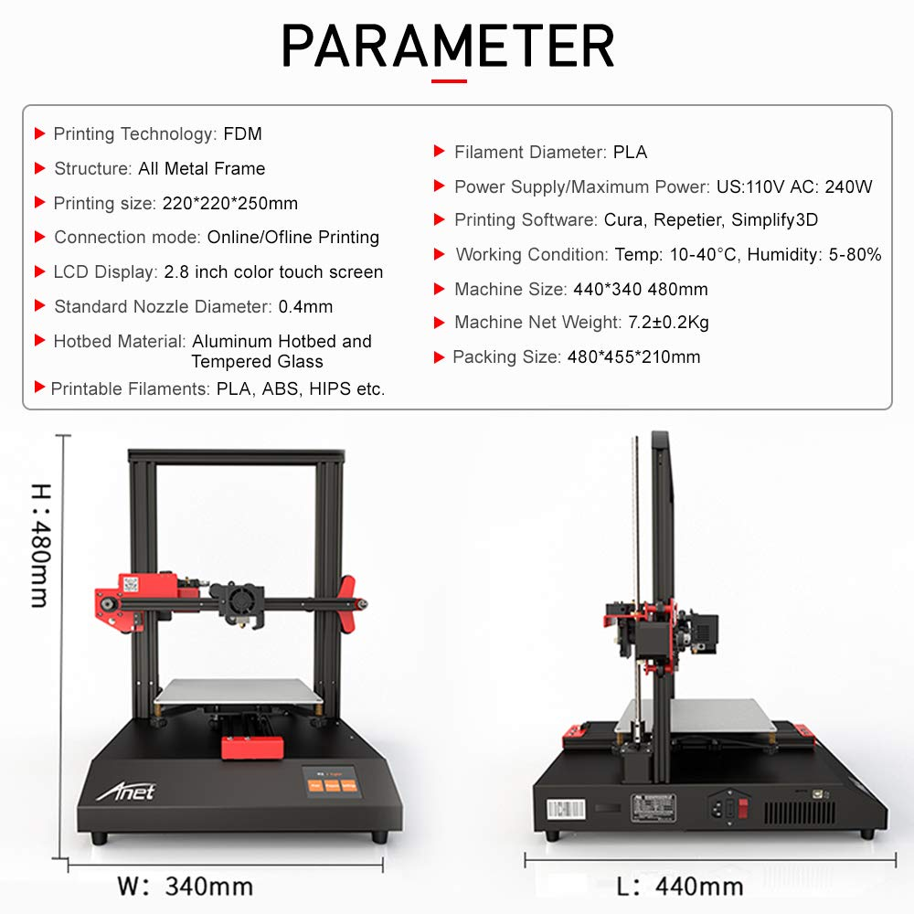 Anet ET4 impresora 3D, marco de metal completo con función de ...
