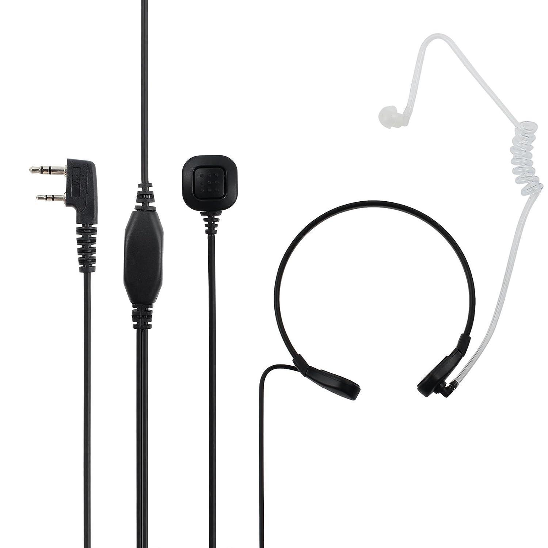 Proster Throat Mic Earpiece Flexible 2 Pin Walkie Talkie Headset Walky Talky Microphone Black Covert Acoustic Tube Belt for Baofeng Kenwood Retevis Lonton Walkies Talkies