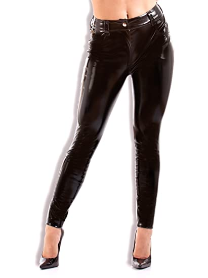 e719ff6bc5c3e Honour Women's Sexy Trouser Jeans in PVC Purple with Stitched Heart ...