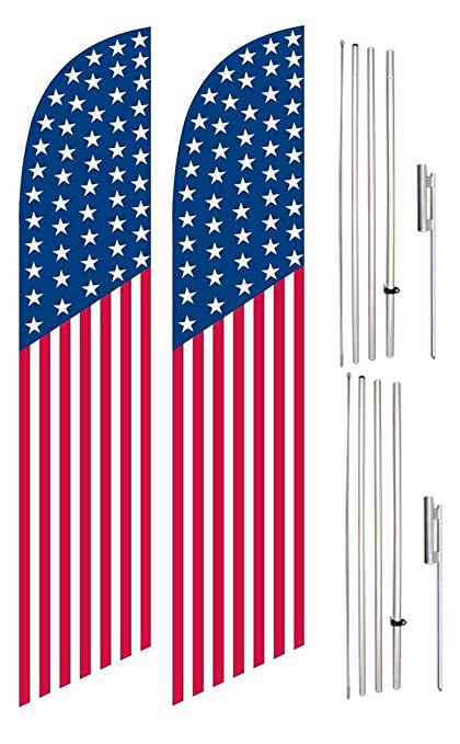 amazon com windless swooper flag pole kit twin pack vertical