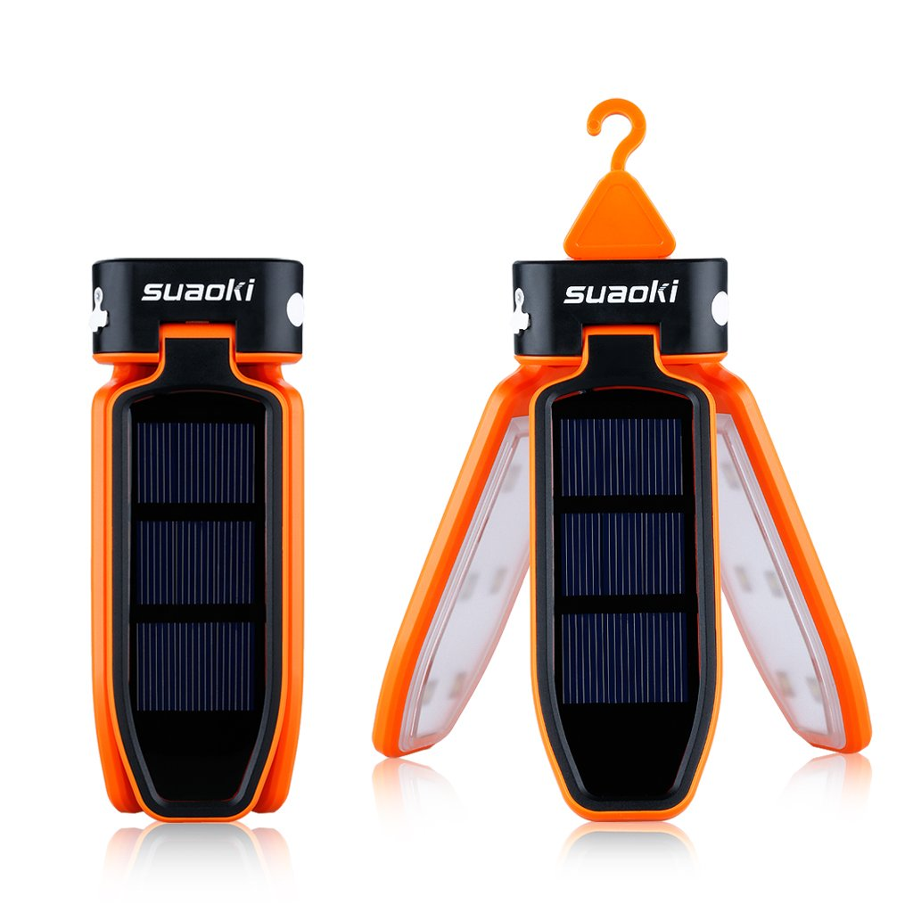 Suaoki Collapsible Clover Style 18 Led Camping Tent Lantern Lighting Lights Flashlight Rechargeable Battery Powered By USB Charging and Solar Panel