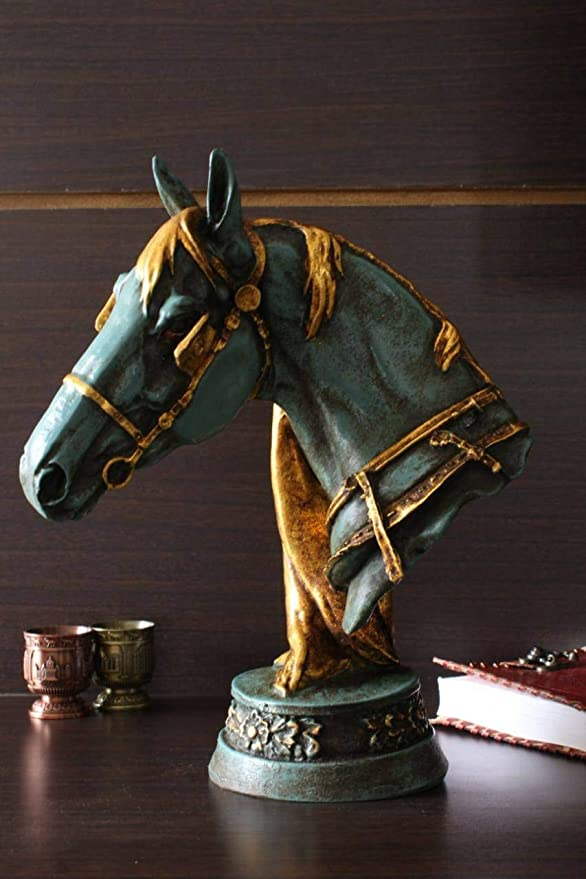 Truesellershop Majestic Horse Bust Statue Stone Finish Gifts For Home Decoration For Indoor Outdoor Garden Green 12 Home Kitchen