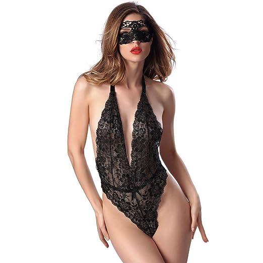eabe3066068b DMZing Women s Sexy Lace Lingerie Babydoll Sleepwear Lady Halter  Adjusted-Straps Nightwear Mesh Clubwear (
