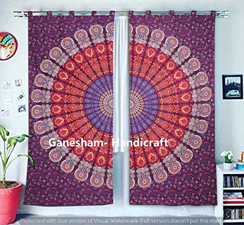 Boho Living Room Curtains, Bohemian Curtains For Bedroom, Tapestry Shower Curtains, Hippie Dorm Decor Window Treatments & Valances Handmade Door Curtain Panel Set Mandala Curtain