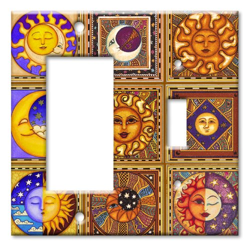 Celestials Theme Metal Wall Plate - Double Gang Combo - Decora / Toggle