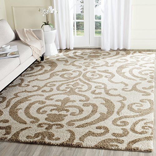 Safavieh Florida Shag Collection SG462-1113 Cream and Beige Area Rug (8' x 10')