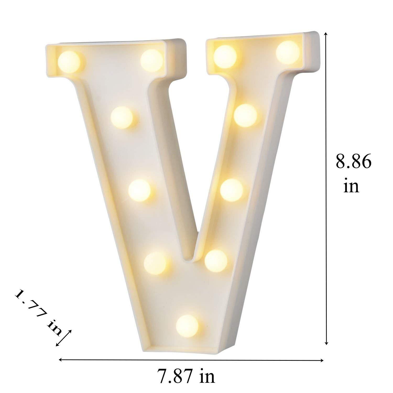 HIYT LED Alphabet Letter Lights Letter D Decorative Warm Plastic Light up Letters