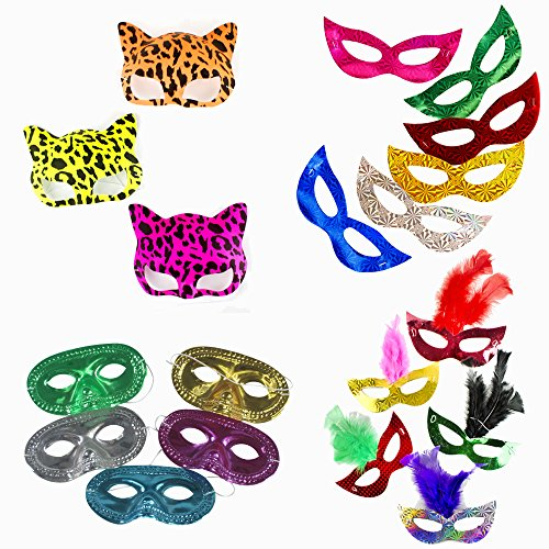 Cat Feather Mask - Fun Central BC830 Mask Party Pack - Includes: 12 pieces Prismatic Masks, 12 pieces Prismatic Feather Masks, 12 pieces Neon Cat Masks and 12 pieces Metallic Half Masks