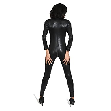 361ca770417b I-Glam Sexy Snake Skin Print Gothic Punk Overall Lycra Catsuit Romper Black  XL