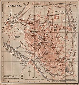 FERRARA Antique Town City Plan Piano Urbanistico. Italy Mappa   1899   Old  Map