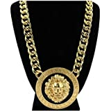 "GALHAM - Celebrity Style Lion Head 1.88"" Pendants with 18"" Chunky Link Chain Necklace Gold Tone with Black Enamel"