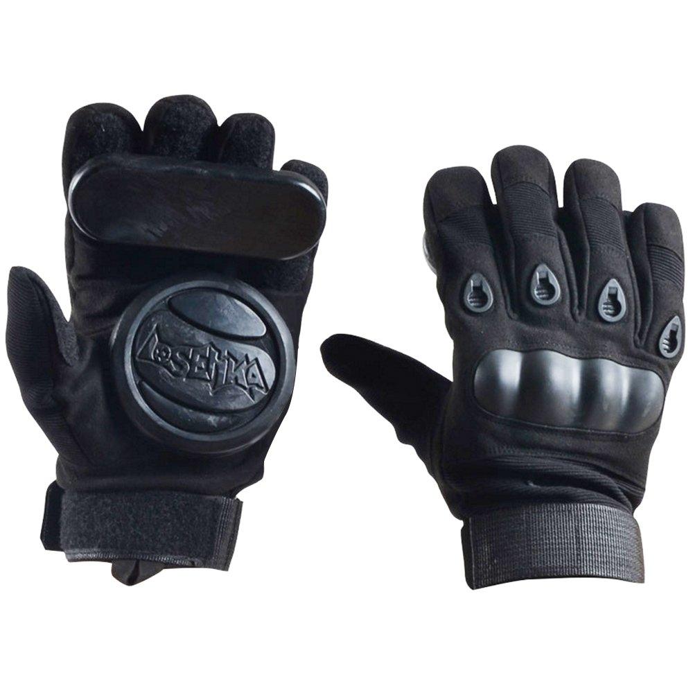 YS Sport Longboard Downhill Slide Gloves - Skate Gloves with 2 Set Replaceable Slider Puck Set, Professional Grade