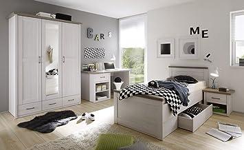 Luca 3 Jugendzimmer Set Komplettset Kinderzimmer Schlafzimmer Pinie Weiß