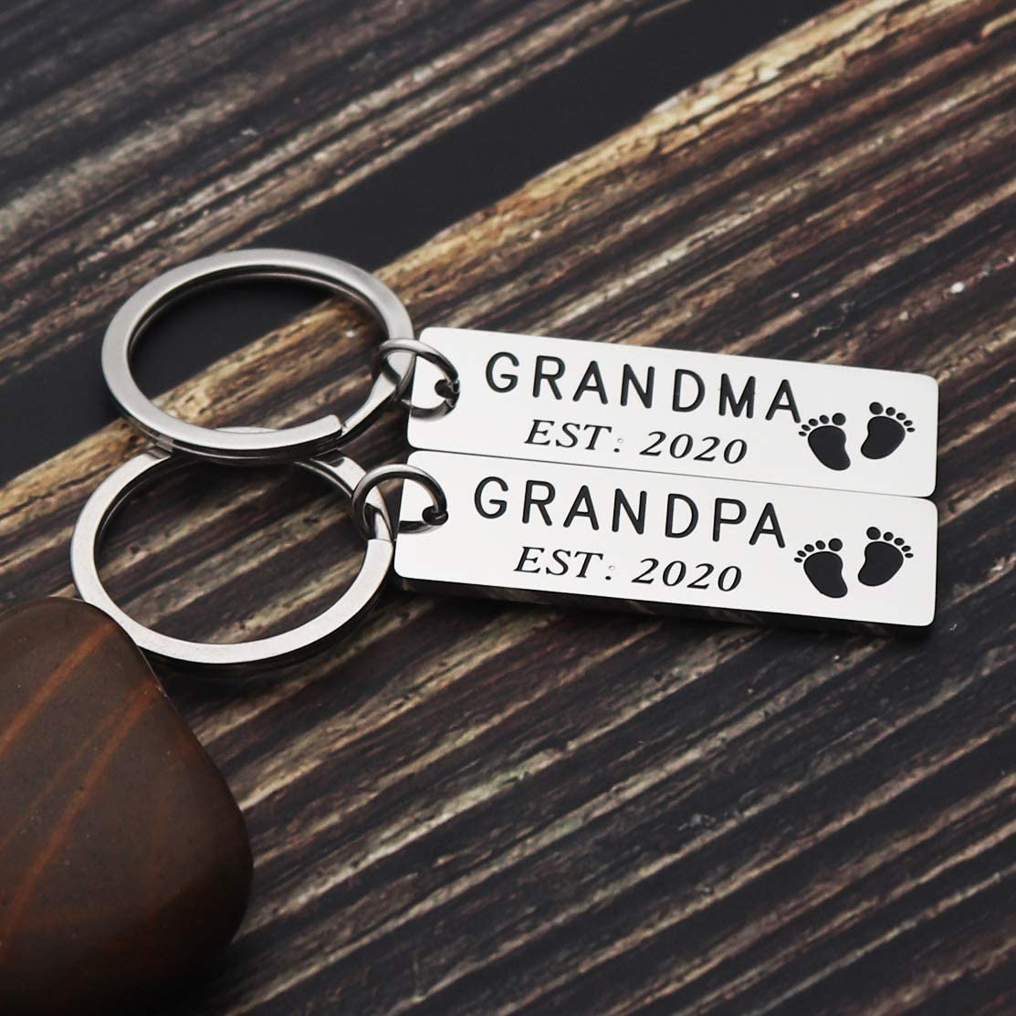 Asqunpin Pregnancy Announcement Grandparents Grandma Grandpa Est 2020 Keychain Set New Grandparent Gifts Pregnancy Reveal to Grandparents