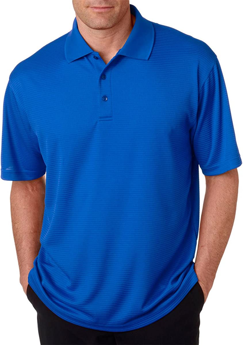 UltraClub Men's Dry Elite Mini-Check Jacquard Polo