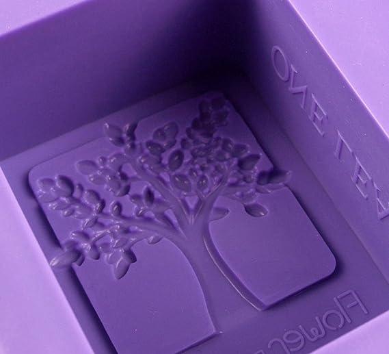 LeisialTM DIY Molde de Pastel de Silicona Forma en Árbol Moldes de Amor Rectangulares para Jabones Hechos a Mano Cookie Azúcar Chocolate 4 Soporte: ...