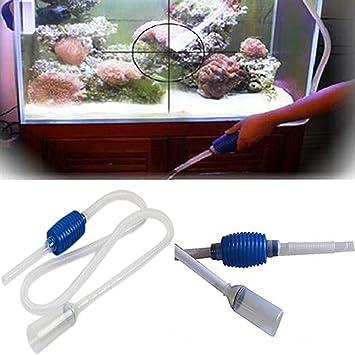 Aquarium - Tubo de limpieza para acuario con filtro para tanque de peces, con bomba de sifón: Amazon.es: Hogar