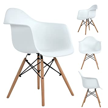 Homycasa Eames Eiffel DSW Style Mid Century Side Dining Chairs Molded  Plastic Cover Natural Wood Legs