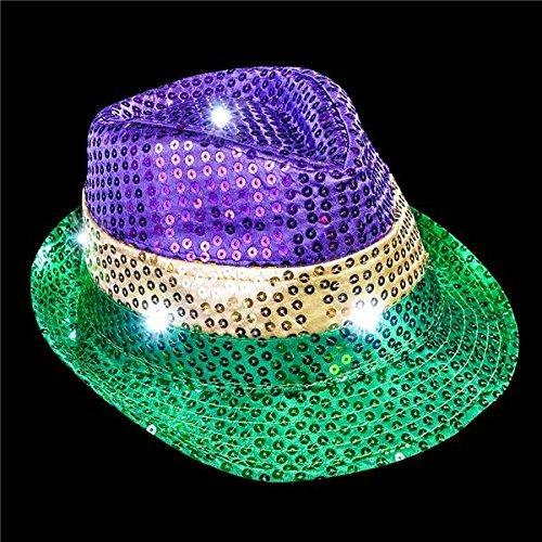 Mardi Gras Jester Hat (Mardi Gras Sequin Light Up Fedora - Adult size)