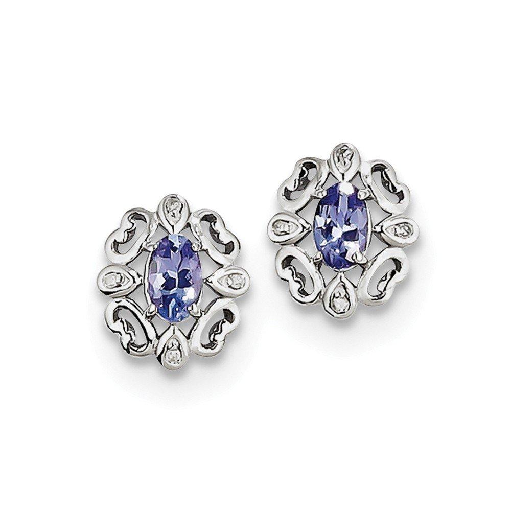 Sterling Silver Rhodium Plated Diamond Tanzanite Round Post Earrings