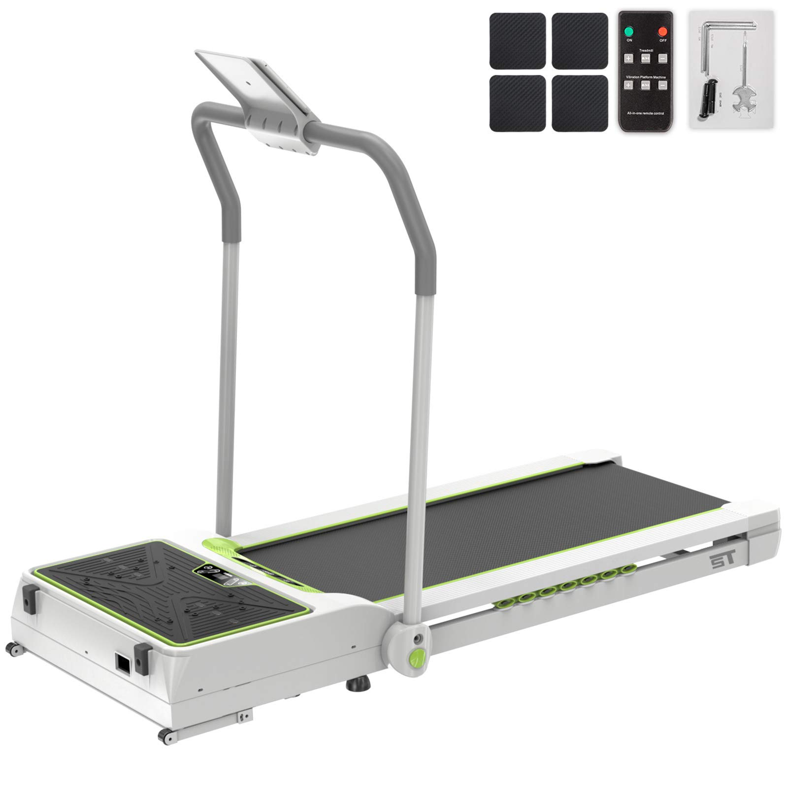 Popsport Smart Treadmill Vibration Platform 3 in 1 Integrate Running Quiet Treadly Treadmill Vibration Plate Folding Digital Portable Under Desk Treadmill Fitness for Home Office(Green with Handle) by Popsport
