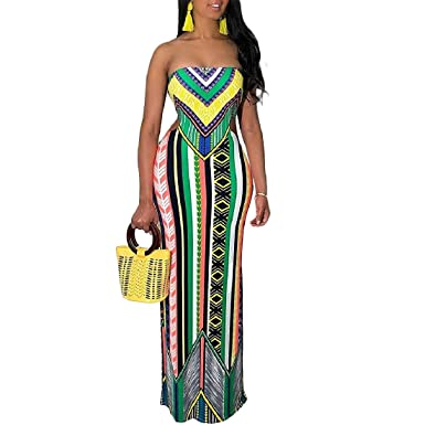 ca37eff15f Comaba Womens Summer Folk Style Wrapped Chest Printed Cut-Out Long Dress  Green XS