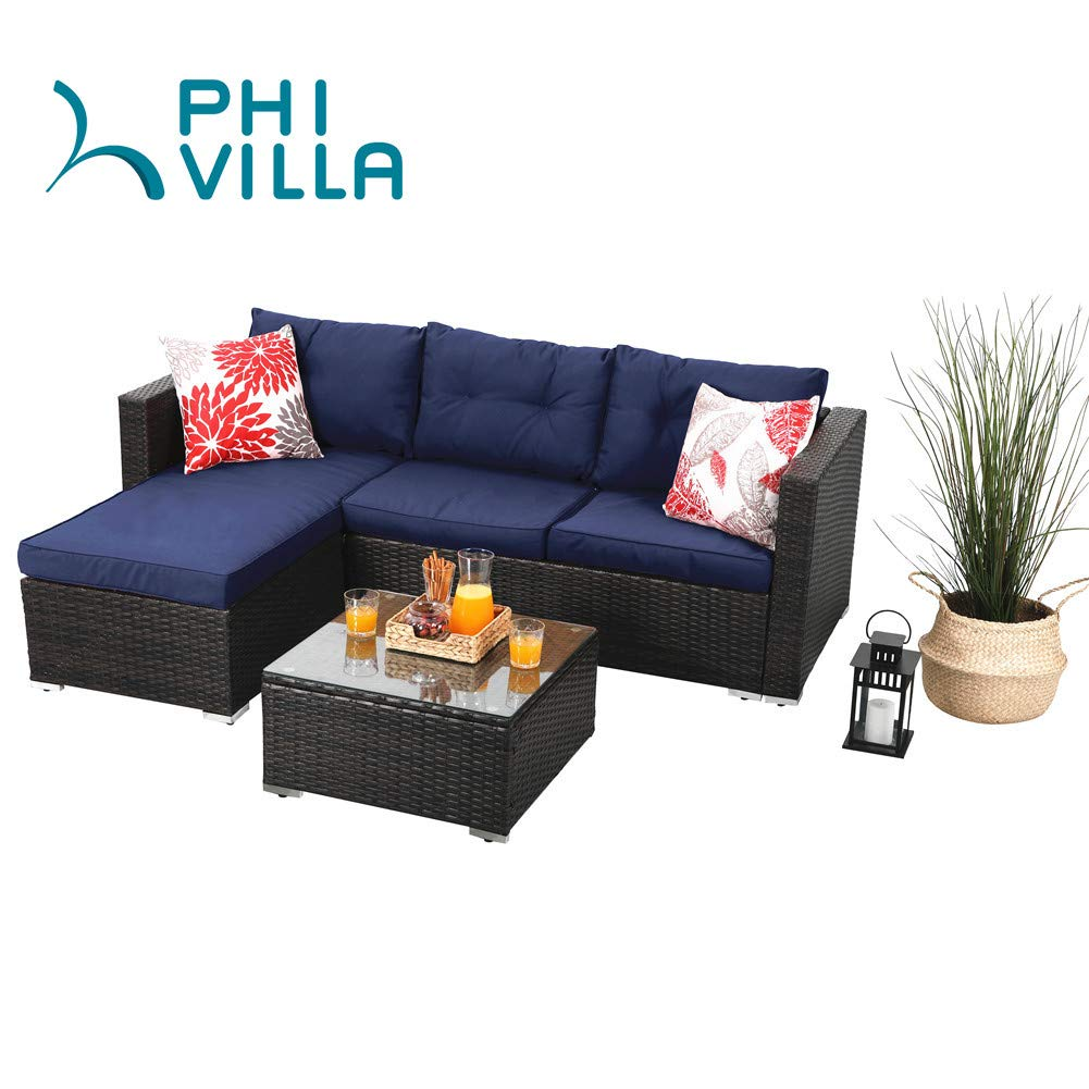 PHI VILLA Outdoor Rattan Sectional Sofa- Patio Wicker Furniture Set (3-Piece, Blue) by PHI VILLA